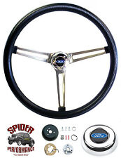 "1965-1966 FORD PICKUP F150 F250 F350 steering wheel STAINLESS BLACK 15"" Grant"