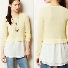 New $88 Anthropologie Clu + Willoughby Sujet Yellow Layer Sweater Lace Tail S