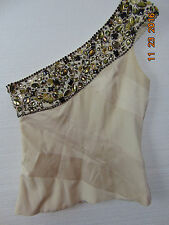 BEBE  Beaded One Shoulder 92% Silk Blouse Top Shirt WITH LINING Sz M