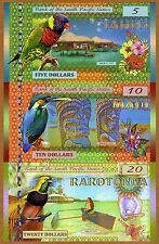 SET, South Pacific States, $5;$10;$20 Tahiti, Maui, Rarotonga 2015, Polymer, UNC