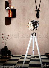 Nautical Hollywood Spotlight Searchlight Tripod Floor Wooden Lighting Lamp