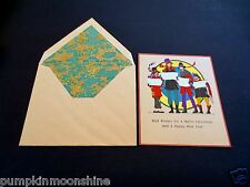 #J708- Unused Gold Embossed Art Deco Xmas Greeting Card Street Carolers Singing