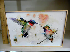 BIG SKY CARVERS ARTIST DEAN CROUSER HUMMINGBIRDS PAINTING 8 X 12 INCHES CANVAS
