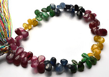 """62.CT 7"""" NATURAL EMERALD-RUBY-SAPPHIRE Pear Shape Briolettes BEADS 4 TO 7 MM"""