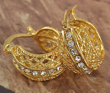 Womens Clip On Earring clear CZ Yellow Gold Plated Round vintage Hoop Earrings