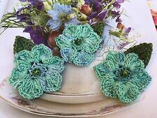 3 flores de ganchillo con hojas multicolores, Flor 5.5-6cm;
