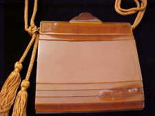 VINTAGE FENDI ROMA BURNT ORANGE RUST LUCITE ACRYLIC PURSE BAG STUNNING RARE