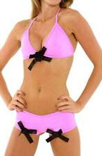 G World Pink with black bows bra set