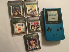 Nintendo GAME BOY COLOR GBC turchese console +5 giochi Tweety SHREK POOH Insetti + +