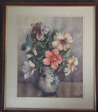FRAMED WATERCOLOUR PAINTING by E.HOGARTH A STILL LIFE OF SUMMER FLOWERS