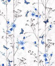 Muriva Eden Wallpaper 102552 - Feature Wall Floral Butterfly Bird Foliage Blue