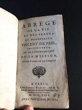 ABREGE DE LA VIE ET DES VERTUS DU BIENHEUREUX VINCENT DE PAUL 1729 CHEZ BILLIOT