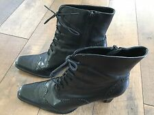 Women's Valerie Stevens Leather Lace Up Victorian Style Boots Steampunk Goth 8