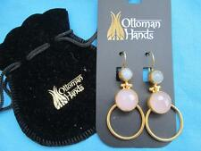 OTTOMAN HANDS 21ct GOLD on BRASS ROSE QUARTZ BLUE CHALCEDONY HOOP EARRINGS NEW