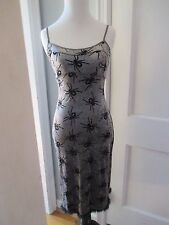 NWOT VINTAGE SUPER RARE BETSEY JOHNSON SILVER BLACK WIDOW SPIDER WIGGLE DRESS S
