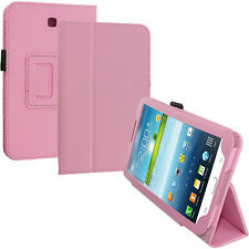 PU Leather Stand Case Cover Pink for Samsung Galaxy Tab3 7.0 T210 P3200 P3210