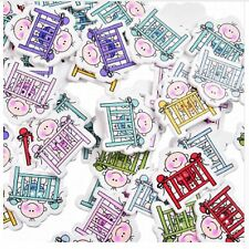 10 x Bottoni in Legno per Cucito coulorful Decorativa Fai da te Scrapbooking Baby UK Venditore