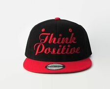 "Embroidered Vintage Snapback  Hat ""Think Positive"" Flat Bill Black/Red Cap"