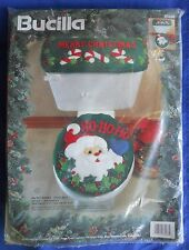 Bucilla 1994 Ho Ho Santa Tank & Toilet Lid Cover Set Applique Felt Christmas Kit