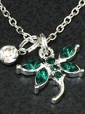 """Dragonfly Green Bejeweled Charm Tibetan Silver 18"""" Necklace BIN"""