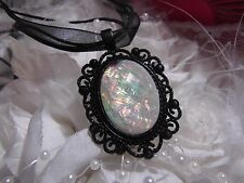 #JRB  GOTHIC CELESTIAL BLACK SETTING  WHITE OPAL FIRE MOONSTONE RAINBOW NECKLACE