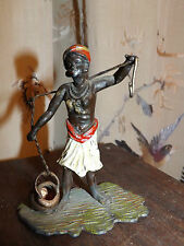 Cold painted Vienna spelter Orientalist Arab pocket watch holder stand Statue