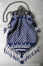 Antique Silver T Art Nouveau Filigree Frame Cobalt Blue White Bead Fringed Purse