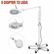 Pro 5 Diopter LED Magnifying Lamp Magnifier Glass Floor Light Beauty Facial Tool