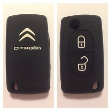 CITROEN C2 2B C3 C4 BLACK CAR FLIP KEY COVER CASE HOLDER REMOTE SILICONE