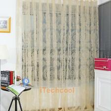 Floral Print Voile Window Curtain Door Bedroom Curtain Divider Scarf Drape Panel
