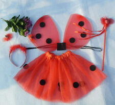 4Pcs Kids Girls Ladybug Costume Set Wing+Tutu+Wand+Headband Party Fancy Dress