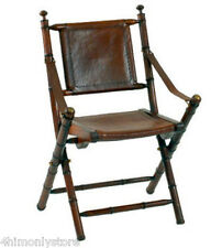 NEW CAMPAIGN STYLE FOLDING CHAIR IN TEAK WOOD & LEATHER WITH BRASS DETAIL