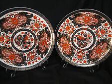 """JAPANESE GOLD KABUKI  IMARI PAIR OF PLATES  7 1/2 """" DIAMETER  HAND DECORATED"""
