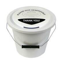 3 Charity Fundraising Money Collection Buckets with Lids, Labels and Ties -White
