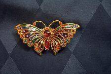 Gorgeous Joan Rivers Large Plique a Jour Butterfly Pin Brooch