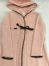 Janie And Jack Pink Brown Cardigan Sweater Sz 4T  Lambs Wool Blend Super Soft!