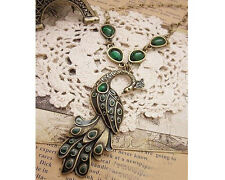 Glitz Fashion Vintage Elegant Green Peacock Necklace Chain for Women