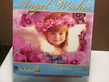 """Francour Angel Wishes """"PANSY CIRCLE"""" Girl Flowers Purple BOXLESS Puzzle *NEW*"""