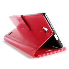 For ZTE Grand X Max+ Z987 Wallet Case - Red Folio Faux Leather Pouch Cover