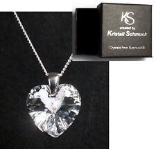 Echt Silber Hals-Kette mit Swarovski® Kristall Herz-Kette glitzernd Schmuck