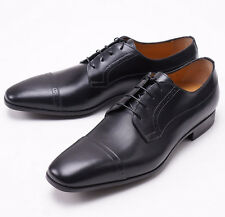 NIB $575 SANTONI 'Redmond' Black Calf Leather Captoe Laceup Shoes US 8 D