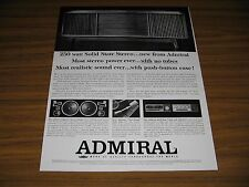 1964 Print Ad Admiral Solid State Stereo Console Phonograph Speakers