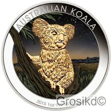 AUSTRALIA 2015 $1 KOALA 1 Oz SILVER COLOR v2 LIMITED MINTAGE 100 PCS WITH COA