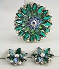 VINTAGE HIGH END Jewelry LAYERED RHINESTONE BROOCH EARRING SET BLUE GIVRE GREEN