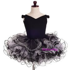 2pcs Girls Off-Shoulder Cupcake National Pageant Dress Shell Black Sz 9-10 PT001