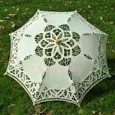 "21"" Battenburg Lace Cotton Parasol Bridal Wedding Decoration Girl Umbrella Ivory"