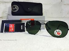 NEW Ray Ban RB 3025 Aviator Metal 002/58 Black/Green Polarized 62mm Sunglasses