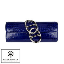 HERMES EGEE CLUTCH BLEU ELECTRIQUE ELECTRIC BLUE SHINY CROCODILE PALLADIUM PHW