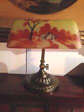 ANTIQUE 1917 VERDELITE DESK LAMP REVERSED PAINTED ART GLASS SHADE