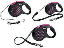 FLEXI RETRACTABLE DOG LEAD POLKA DOT DESIGN TAPE CORD EXTENDING LEADS 8-50KGS